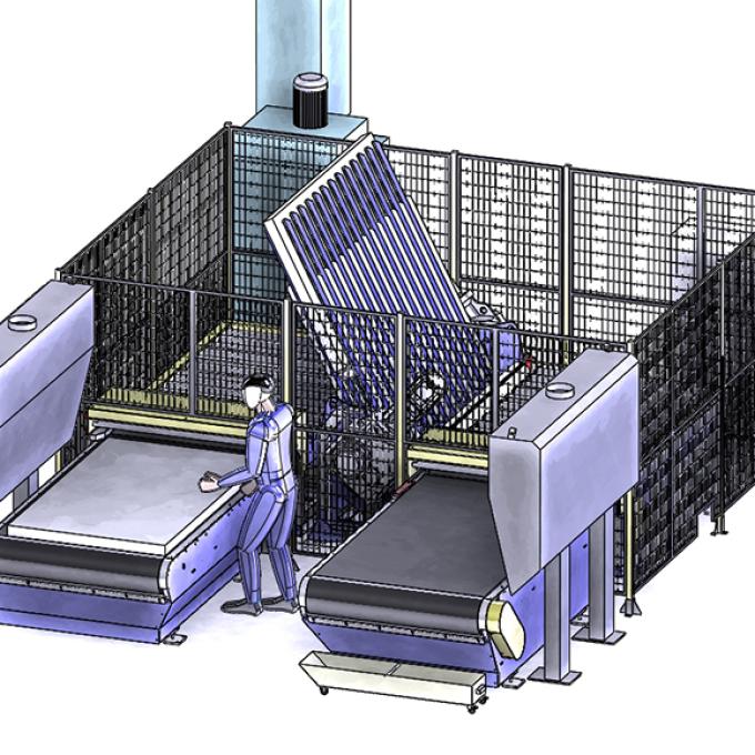 Retourneur à fourches pour la manutention des pièces à ébavurer - SPK Solutions