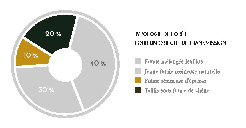 Schéma : Typologie de forêt pour un objectif de transmission - Domaines et Patrimoine